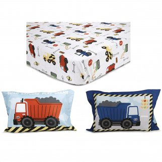 Kidplokio Construction Toddler Fitted Sheet Set