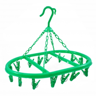 16 Clip Hooks Hanging Clothes Dryer Collapsible Laundry Green