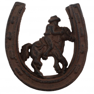 Vintage Cast Iron Wild West Horseshoe Cowboy Door Knocker