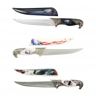 White, Black, and Patriotic 3 dagger knife collector's set