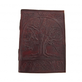 Leather Bound Journal Tree of Life Embossed Diary Front View