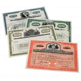4pk Old West Authentic Railroad Stock Certificates