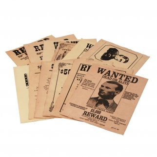 Real life outlaws on wanted posters 12pk