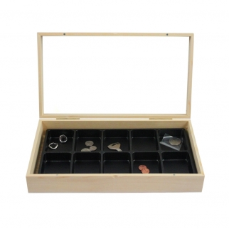Wooden Display Case Jewelry Box & 10 Compartment Liner Tray