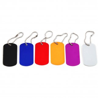 Aluminum Dog Tag Military GI Blank Key Chain 6 Pack