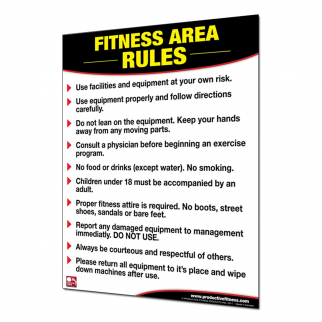 Fitness and Health Instructional Poster Exercise Equipment Rules - Laminated