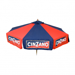 9 foot Wood Cinzano Vinyl Umbrella - Market Style