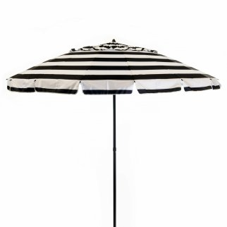 DestinationGear Deluxe Beach Patio Umbrella Black White Stripes 8ft Diameter