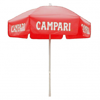 6 foot Campari Red Push/Tilt Vinyl Umbrella - Patio Pole
