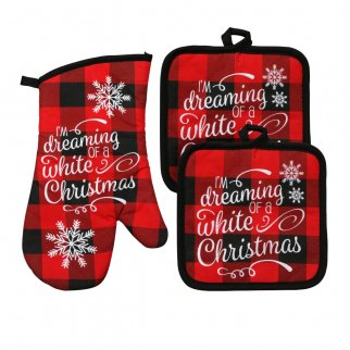 Christmas House White Chrismas Black and Red Plaid Potholder