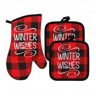 Christmas House Winter Wishes Black and Red Plaid Potholders