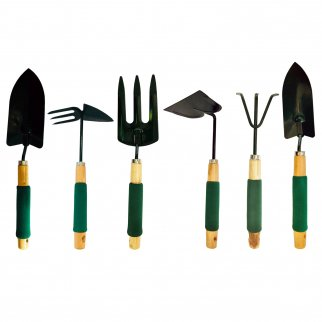 6pc Wooden Steel Handheld Garden Tool Set with Mini Trowel Shovel Hoe & Claw