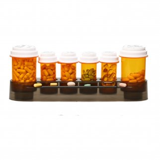 6 Slot Pill Holder Vial Stand Organizer with Pill Shelf for Medication and Vitamins