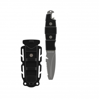 Akua Dive Knife with Tang Blunt Tip Blade and Sheath Water Sport - Black