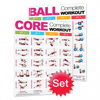2pc Productive Fitness Core Complete Workout Excercise Posters - Laminated