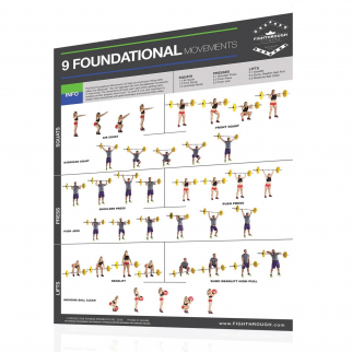 Productive Fitness Fighthrough 9 Foundational Movements Exercises - Laminated