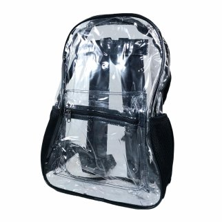 ASR Outdoor Transparent PVC Security Backpack Black Trim