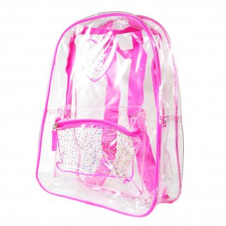 TychoTyke Girls Transparent School Backpack Clear PVC - Pink