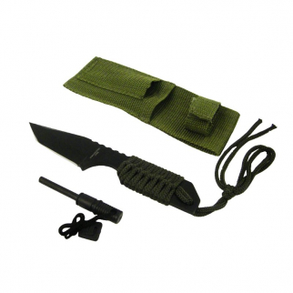7 Inch Full Tang Camping Hunting Survival Serrated Knife Fire Starter Green
