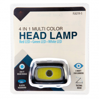 4 in 1 350 Lumen Multi Color Tilting Head Lamp Outdoor Use