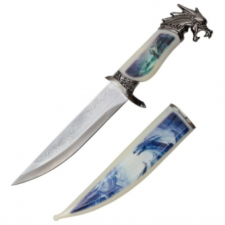 "13.5"" Mythical Dragon Collector Etched Blade Hunting Knife with Scabbard"