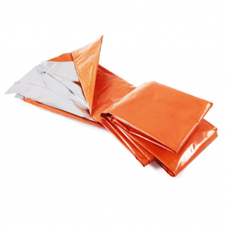 Orange mylar emergency blanket