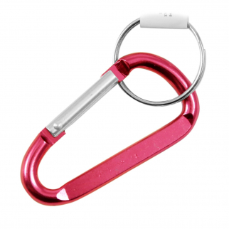 6 Pack Aluminum Multi-Color Carabiner Spring Clip Keychain Medium Pink