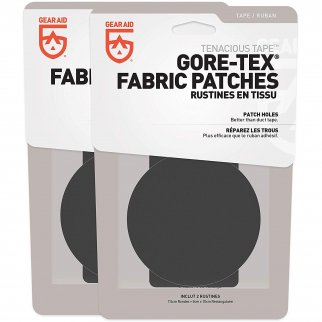 GEAR AID Tenacious Tape GORE-TEX Fabric Patches for Jacket Repair, Black, Round and Rectangle, 2-pk