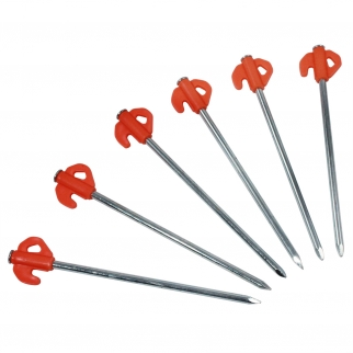 6pc Heavy Duty Camping Tent Pegs - Orange