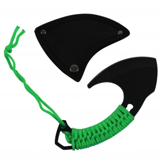"7.2"" Fantasy Blade Hatchet Green Nylon Cord Wrapped Survival Hand Axe"