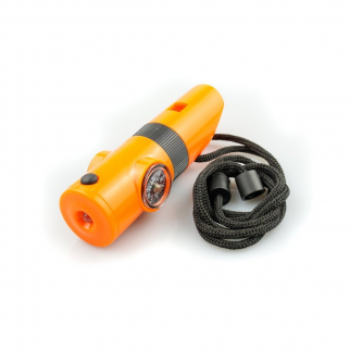 7 in 1 Survival Whistle Multi-Case with LED Flashlight Compass Mirror - Orange
