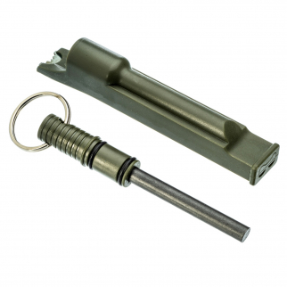 ASR Outdoor 3 in 1 Flint Rod Striker Fire Starter Whistle Every Day Carry Green