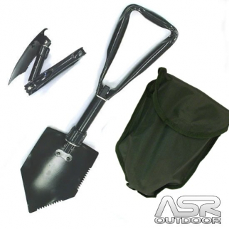 24 Inch Tri-Folding Emergency Survival Serrated Rescue Camping Shovel