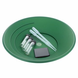ASR Outdoor Gold Rush Gold Prospecting Pan Kit Glass Vials Testing Stone - 7pc