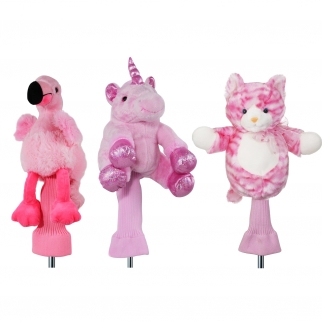 3pc Pink Plush Unicorn Cat & Flamingo 460cc Golf Head Covers for Drivers and Woods