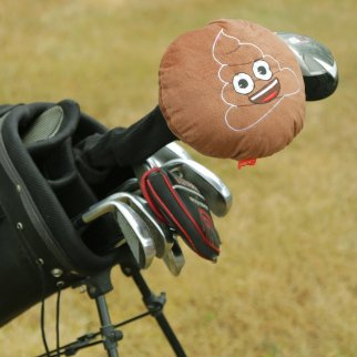 Emoji 460cc Golf Club Driver Head Cover Brown Smiley Poop