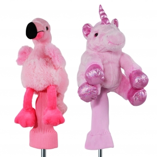 2pc Pink Plush Unicorn & Flamingo 460cc Golf Head Covers