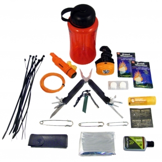 Superior Outdoor Camping & Hiking Survival Bottle Emergency Kit Opened
