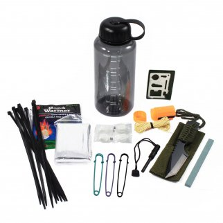 26pc Essential Outdoor Survival Kit in Bottle Portable Emergency Camping Prepper