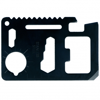 11 in 1 Pocket Survival Black Credit Card Multi Tool with Carrying Case - 5 Pack
