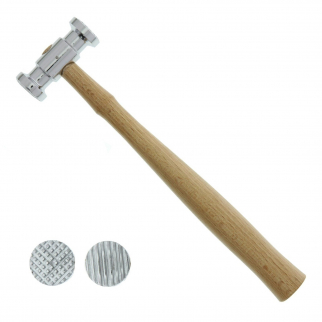 Universal Tool Texturising Hammer Dual Face Square Stripe Patterns Wooden Handle