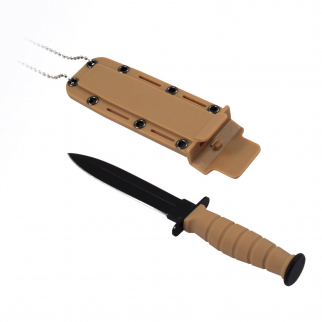 6inch ASR Tactical Serrated Fixed Blade Dagger Hunting Neck Knife - Tan