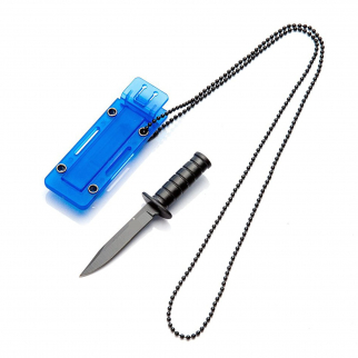 4 Inch ASR Outdoor Fixed Blade Tanto Point Hunting Neck Knife - Blue