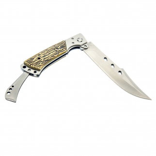 "ASR Outdoor - 10.75"" Hunting Knife with Folding Flip Lock Bone Handle"