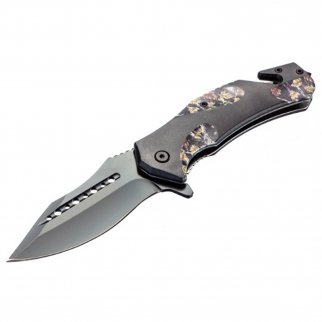 ASR Outdoor Drop Point Pocket Knife 4.75 Inch Window Punch Foliage Camo Design