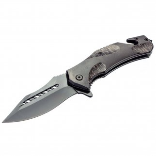 ASR Outdoor Drop Point Pocket Knife 4.75 Inch Window Punch Textured Camo Design