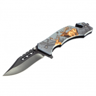 "ASR Outdoor Drop Point Pocket Knife 4.75"" Deer Design"