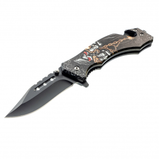 ASR Outdoor Drop Point Pocket Knife 4.75 Inch Window Punch Dark Chain Design
