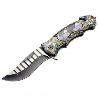 ASR Outdoor Clip Point Pocket Knife Bald Eagle Design