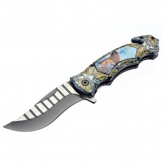 ASR Outdoor Clip Point Blade Pocket Knife 5 Inch Window Punch Howling Wolf